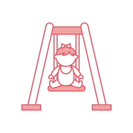 cute girl baby on swing avatar character vector illustration design