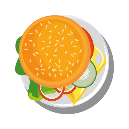Hamburger above view icon vector illustration graphic design