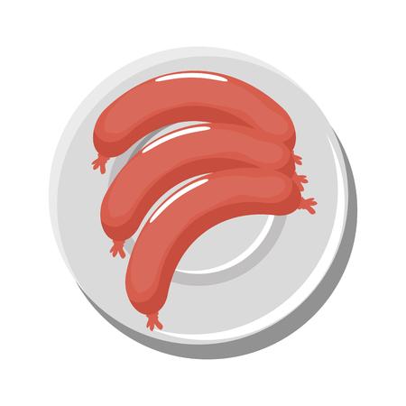 Delicious sausage food icon vector illustration graphic design Çizim