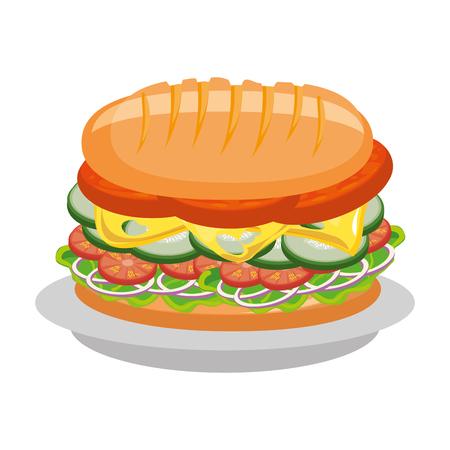 おいしいサンドイッチ食べ物アイコン ベクトル イラスト グラフィック デザイン