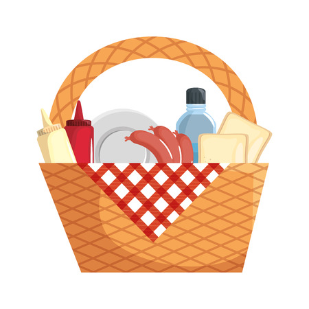 Picnic basket with food icon vector illustration graphic design