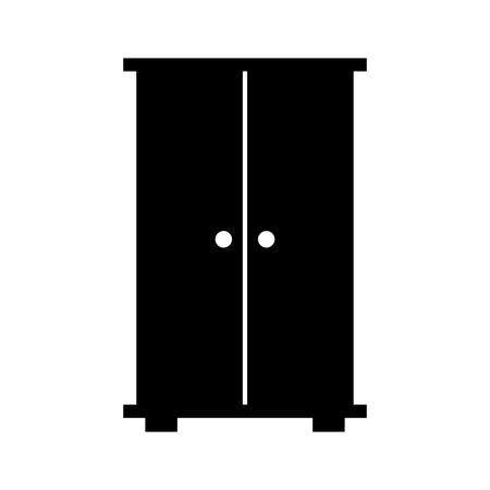 Armadio in legno isolato icona illustrazione vettoriale di progettazione Archivio Fotografico - 81636832