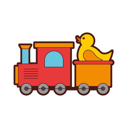 Train avec canard en caoutchouc jouet icône vector illustration design Banque d'images - 81623032
