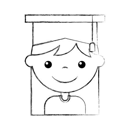 cute girl graduated icon vector illustration design