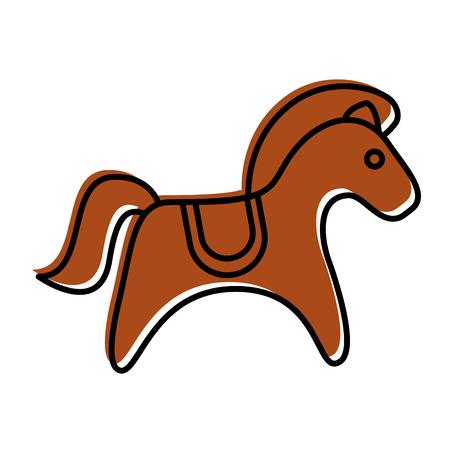 Cute carrousel horse isolated icon vector illustration design