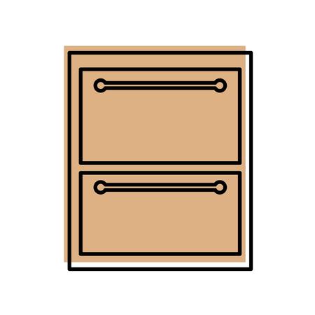 木製引き出しアイコン ベクトル イラスト デザインを分離しました。  イラスト・ベクター素材