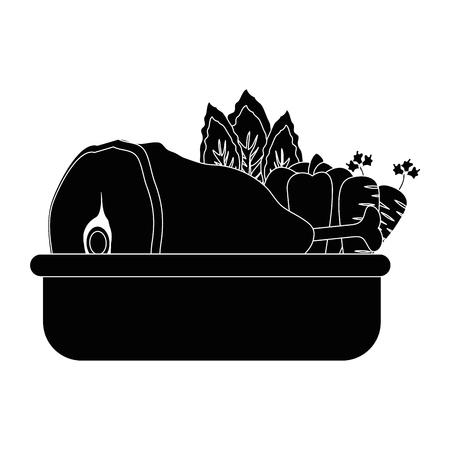 야채와 고기 아이콘 벡터 일러스트 그래픽 디자인으로 음식 트레이. 일러스트