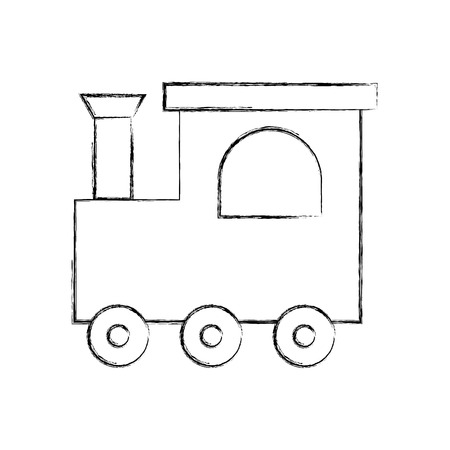 Een ontwerp van de de lijnillustratie van het treinstuk speelgoed geïsoleerd pictogram.