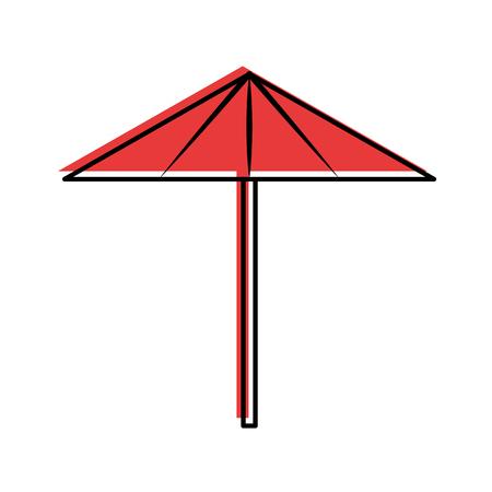 Vector de illustratieontwerp van het strandparaplu geïsoleerd pictogram