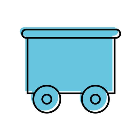 Vector het illustratieontwerp van het treinwagen geïsoleerde pictogram