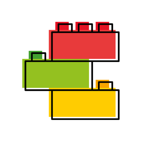 Toy blocks structure icon vector illustration design