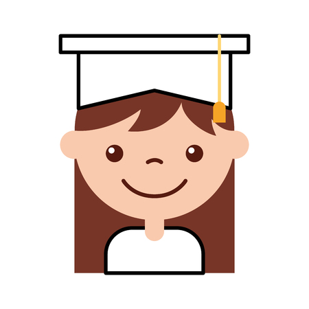 cute girl graduated icon vector illustration design