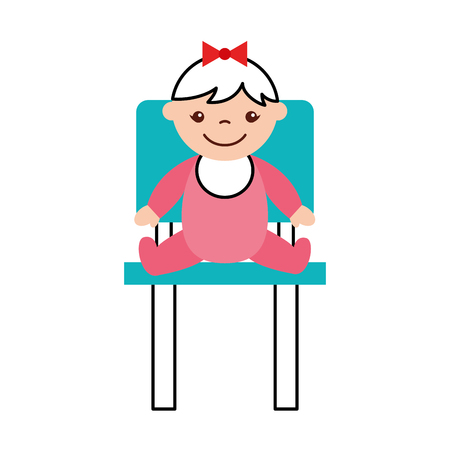 cute girl baby sitting on chair avatar character vector illustration design