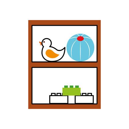 wooden drawer with toys vector illustration design 版權商用圖片 - 81627222