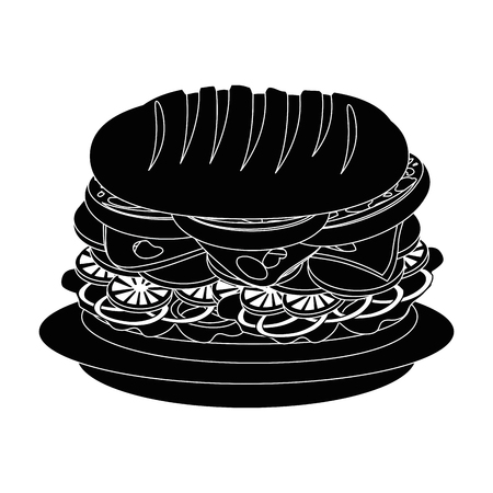 A sandwich food icon vector illustration graphic design.