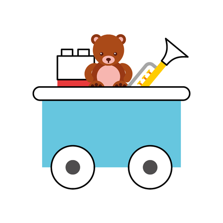 train wagon toy with toys vector illustration design