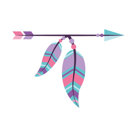 Decorative arrows with feathers boho style vector illustration design