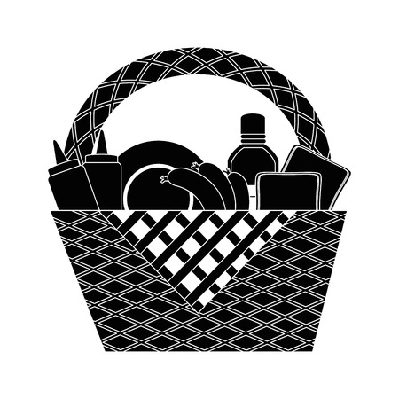 피크닉 바구니 만화 아이콘 벡터 일러스트 그래픽 디자인