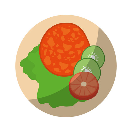 Delicious and healthy salad icon vector illustration graphic design