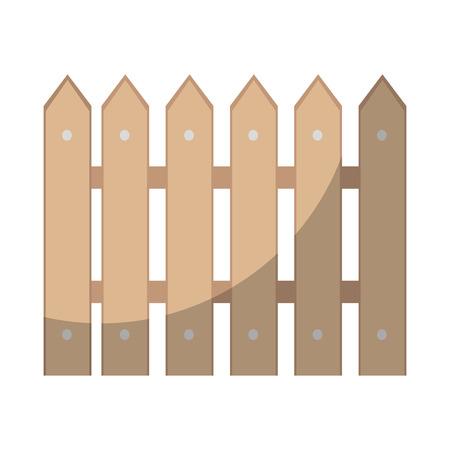 木製フェンス分離アイコン ベクトル イラスト グラフィック デザイン