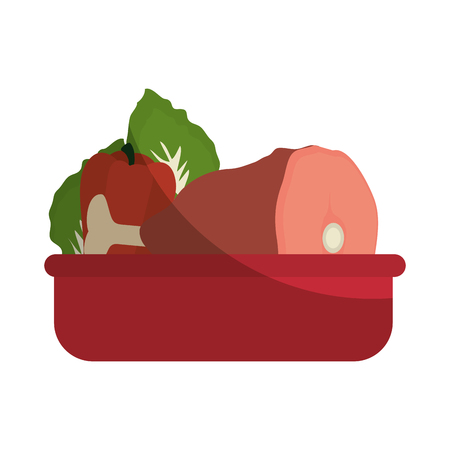 food tray Vegetable meat icon vector illustration graphic design