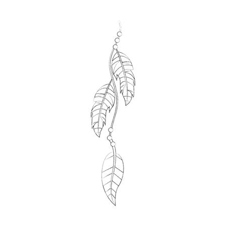 Boho estilo decorativo pluma ilustración vectorial diseño Foto de archivo - 81621087