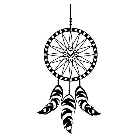 Boho estilo sueño catcher ilustración vectorial diseño Foto de archivo - 81621357