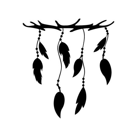 Boho estilo plumas decorativas ilustración vectorial diseño Foto de archivo - 81618631