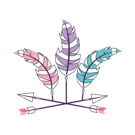 Decorative arrows with feathers boho style vector illustration design Reklamní fotografie - 81621736