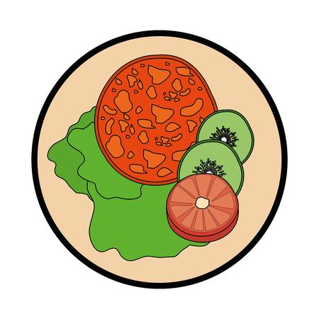 Köstliches Salatlebensmittelikonenvektor-Illustrationsgrafikdesign Standard-Bild - 81625234
