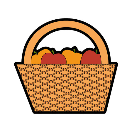 apples and oranges: Camping basket cartoon icon vector illustration graphic design Illustration