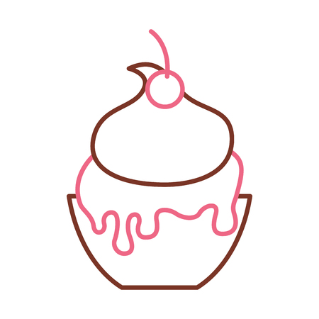 맛있는 아이스크림 바구니 벡터 일러스트 레이 션 디자인.
