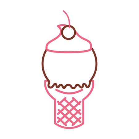 Delicious ice cream cone vector illustration design