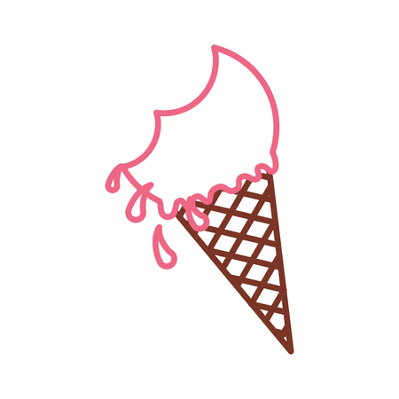 Delicious ice cream cone with bite vector illustration design Illustration