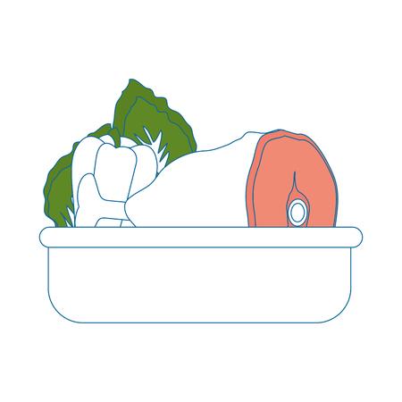 음식 트레이 야채 고기 아이콘 벡터 일러스트 그래픽 디자인입니다. 일러스트