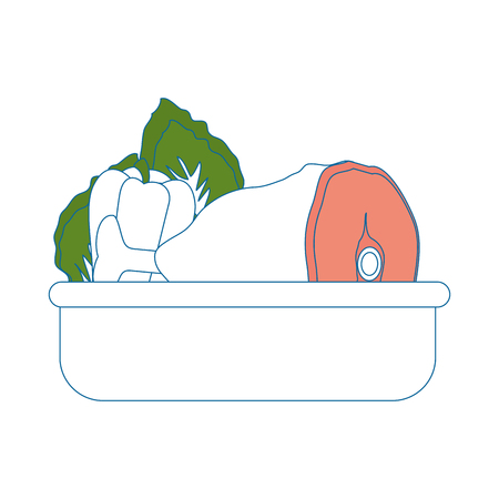 Food tray Vegetable meat icon vector illustration graphic design. Ilustração
