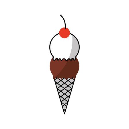 맛있는 아이스크림 콘 벡터 일러스트 레이션 디자인