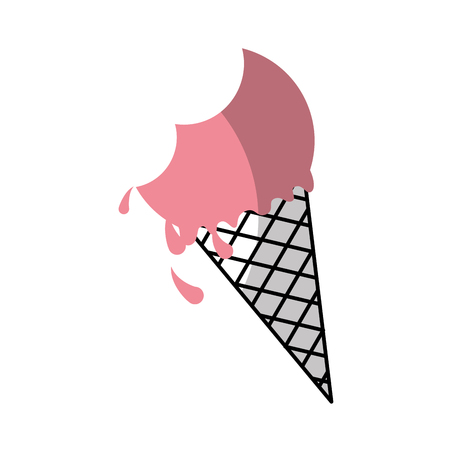 Delicious ice cream cone with bite vector illustration design Illusztráció