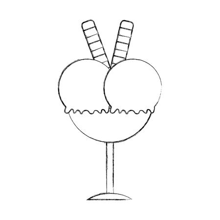 Progettazione deliziosa dell'illustrazione di vettore dell'icona della tazza del gelato Archivio Fotografico - 81632716