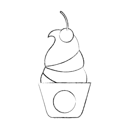 Delicious ice cream basket vector illustration design Illusztráció