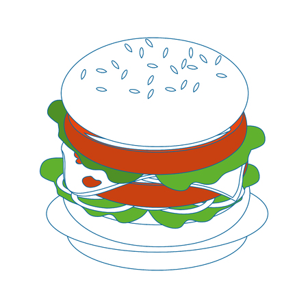 Hamburger Fast food icon vector illustration graphic design Illustration