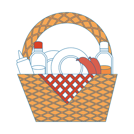 camping basket cartoon icon vector illustration graphic design Ilustrace