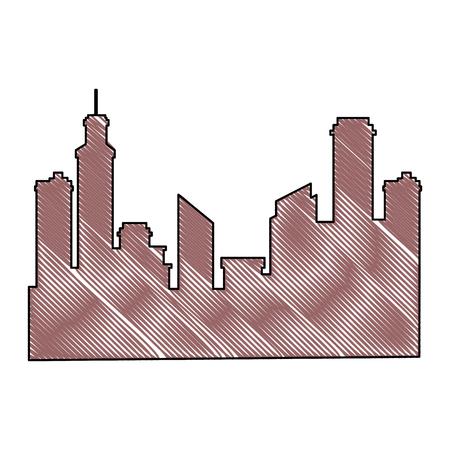 Silhouette of urban city icon vector illustration Иллюстрация