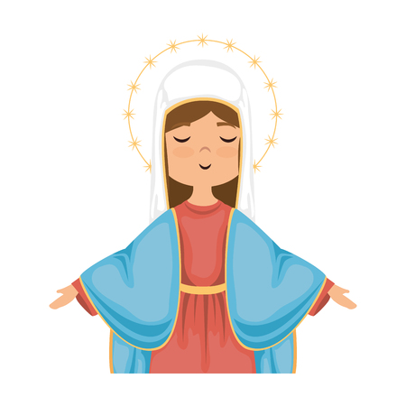 Cartoon virgin mary icon over white background colorful design vector illustration.
