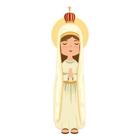 Cartoon virgin mary icon colorful design vector illustration
