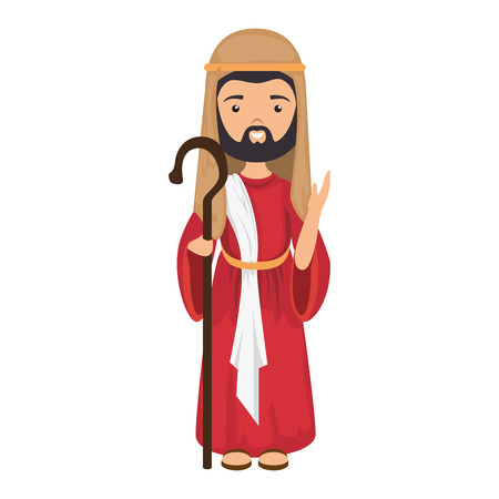 cartoon saint joseph icon over white background colorful design vector illustration