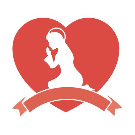 白い背景のベクトル図を聖母マリアのアイコンのシルエットとハート