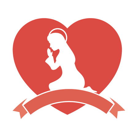 heart with silhouette of virgin mary icon over white background vector illustration Ilustração