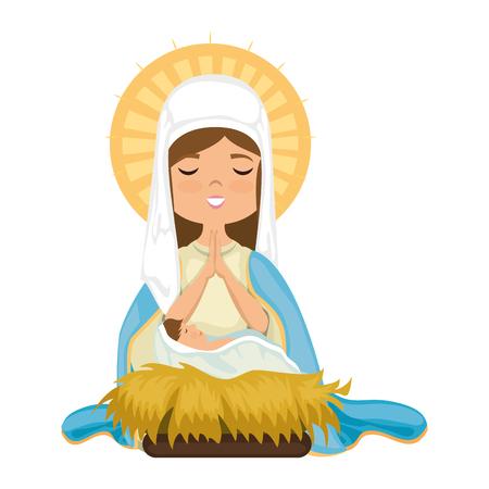 Dibujos animados virgen maria icono sobre fondo blanco colorido diseño ilustración vectorial Ilustración de vector