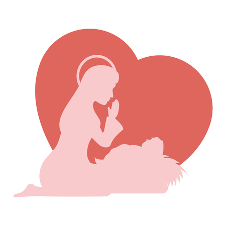 Heart with virgin mary icon over white background colorful design vector illustration.